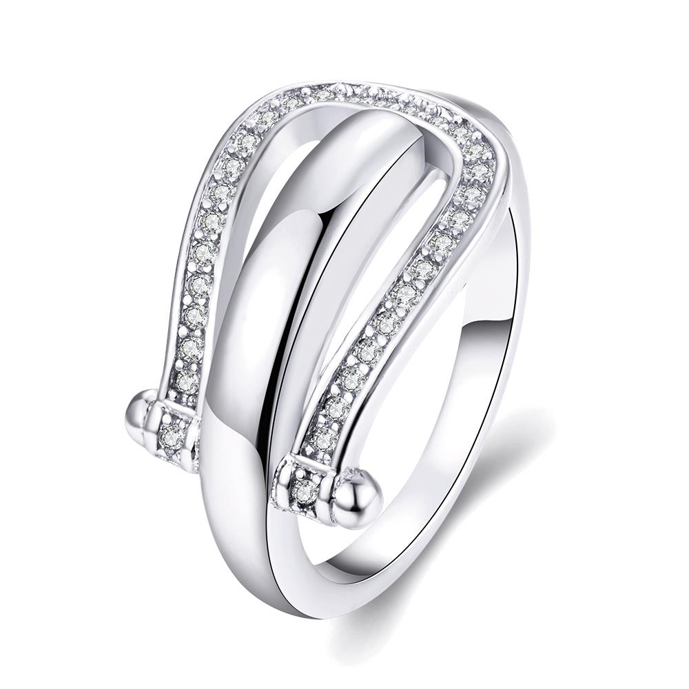 Wholesale Trendy Platinum Geometric White CZ Ring TGGPR1279