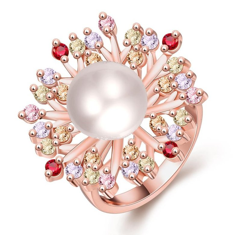Wholesale Classic Rose Gold Plant Multicolor CZ Ring TGGPR1298