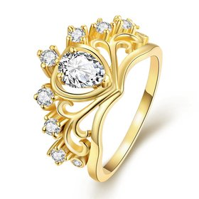 Wholesale Romantic 24K Gold Heart White CZ Ring TGGPR160