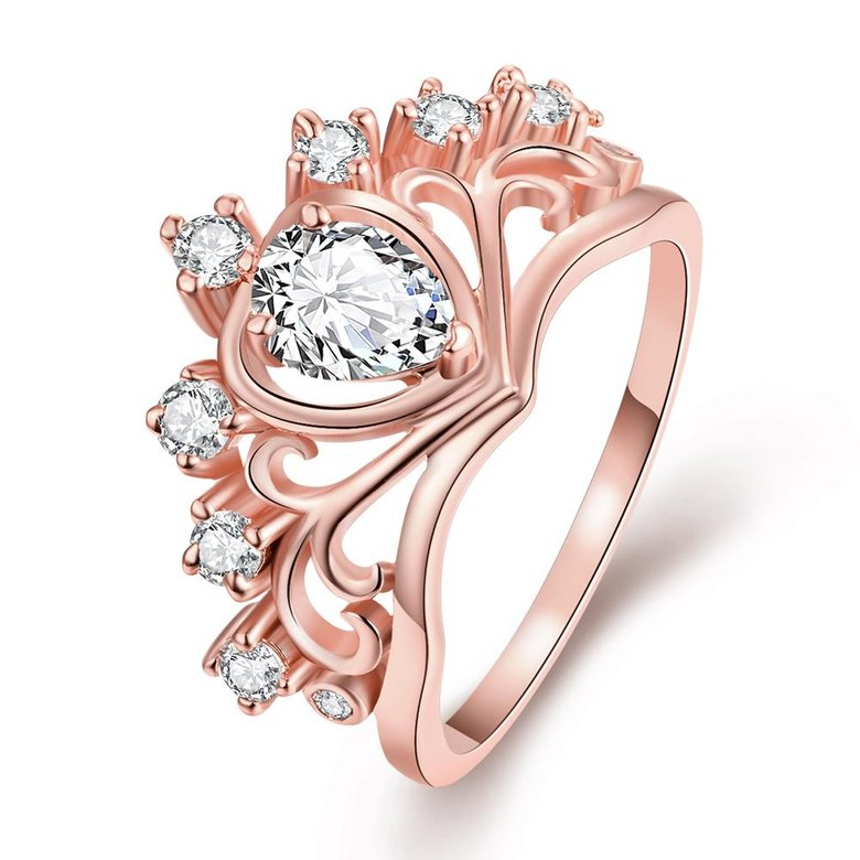 Wholesale Romantic Rose Gold Heart White CZ Ring TGGPR005