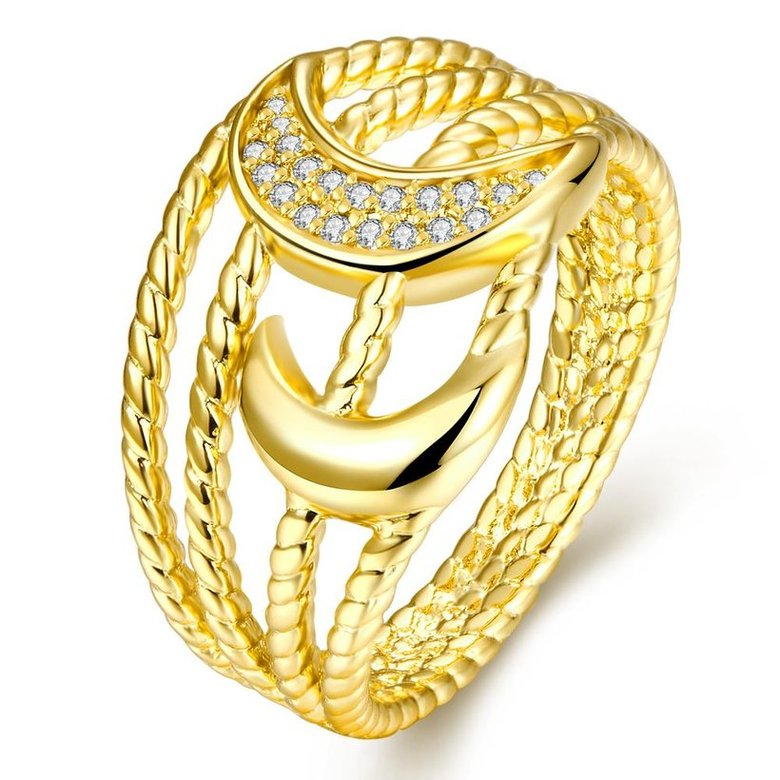 Wholesale Classic 24K Gold Moon White CZ Ring TGGPR209