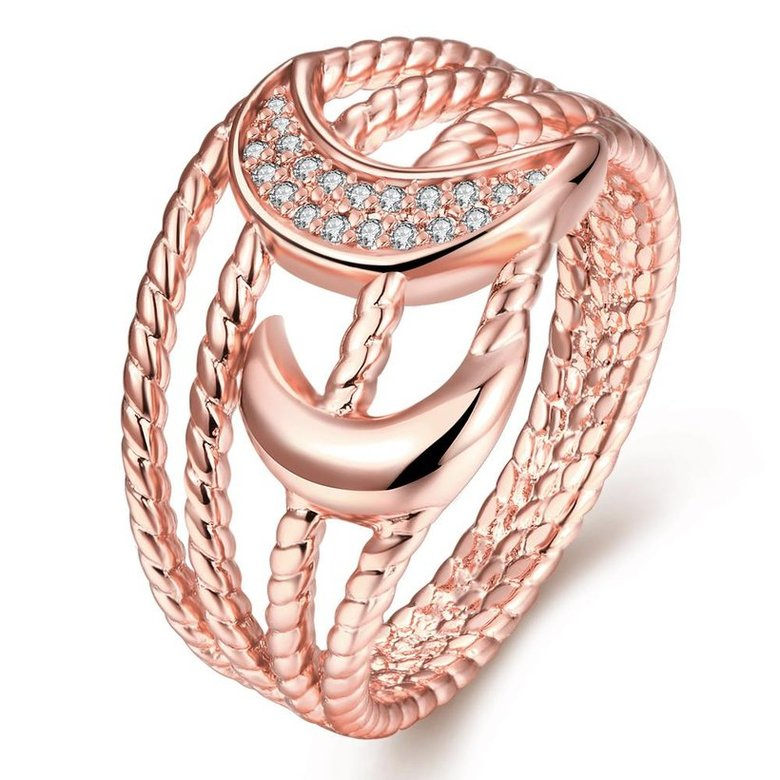 Wholesale Classic Rose Gold Moon White CZ Ring TGGPR216