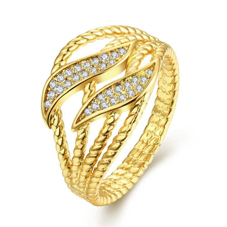 Wholesale Trendy 24K Gold Plant White CZ Ring TGGPR223