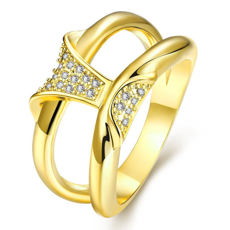 Wholesale Classic 24K Gold Geometric White CZ Ring TGGPR237