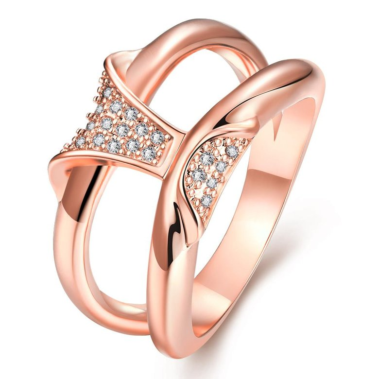 Wholesale Classic Rose Gold Geometric White CZ Ring TGGPR244