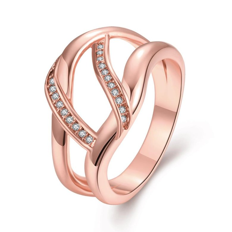 Wholesale Classic Rose Gold Geometric White CZ Ring TGGPR328