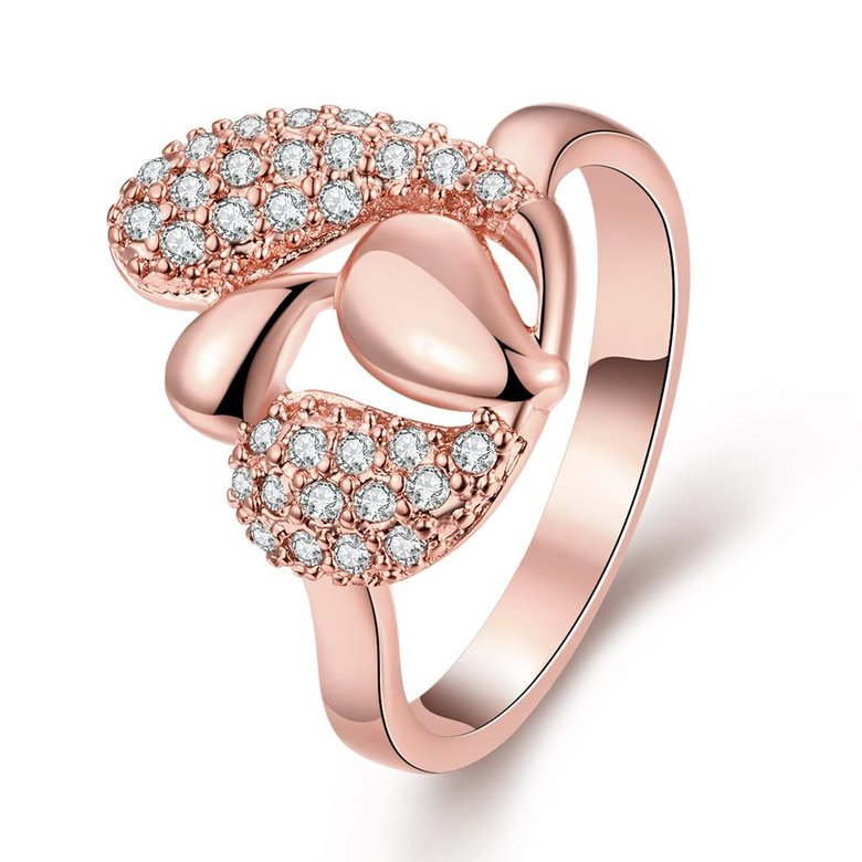 Wholesale Romantic Rose Gold Plant White CZ Ring TGGPR342