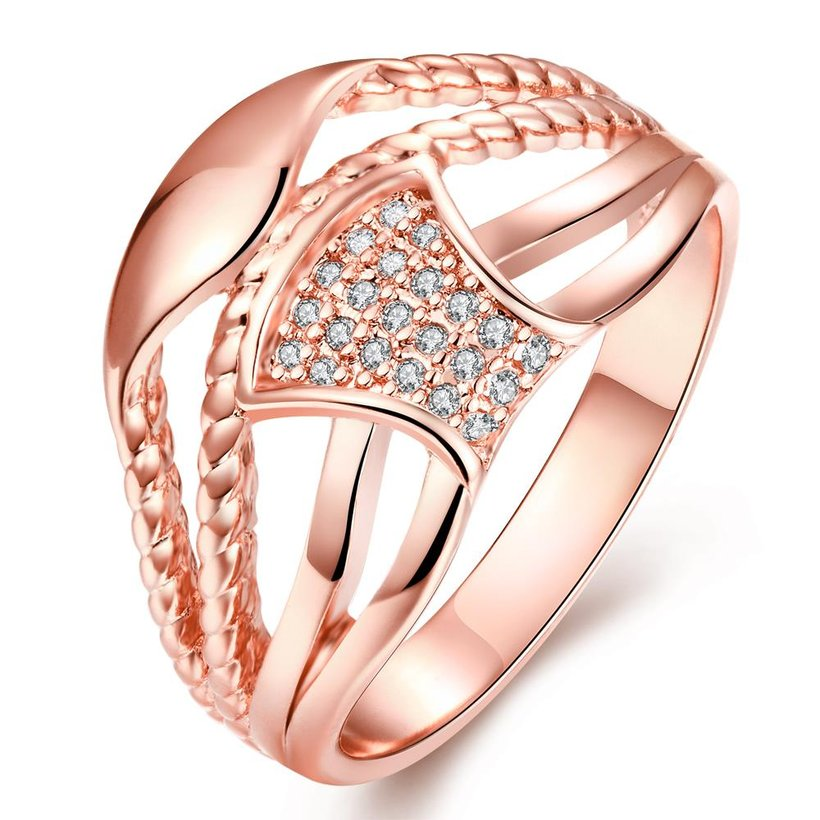 Wholesale Classic Rose Gold Geometric White CZ Ring TGGPR356