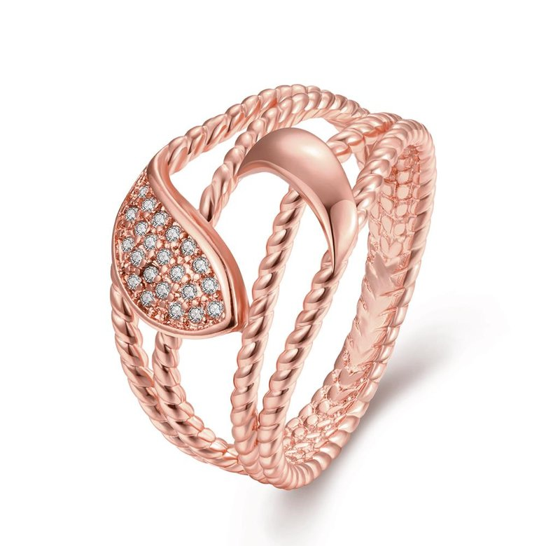 Wholesale Romantic Rose Gold Plant White CZ Ring TGGPR384