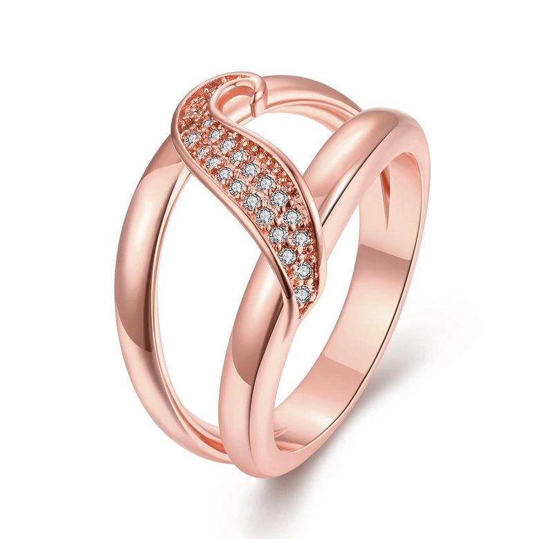 Wholesale Romantic Rose Gold Plant White CZ Ring TGGPR395