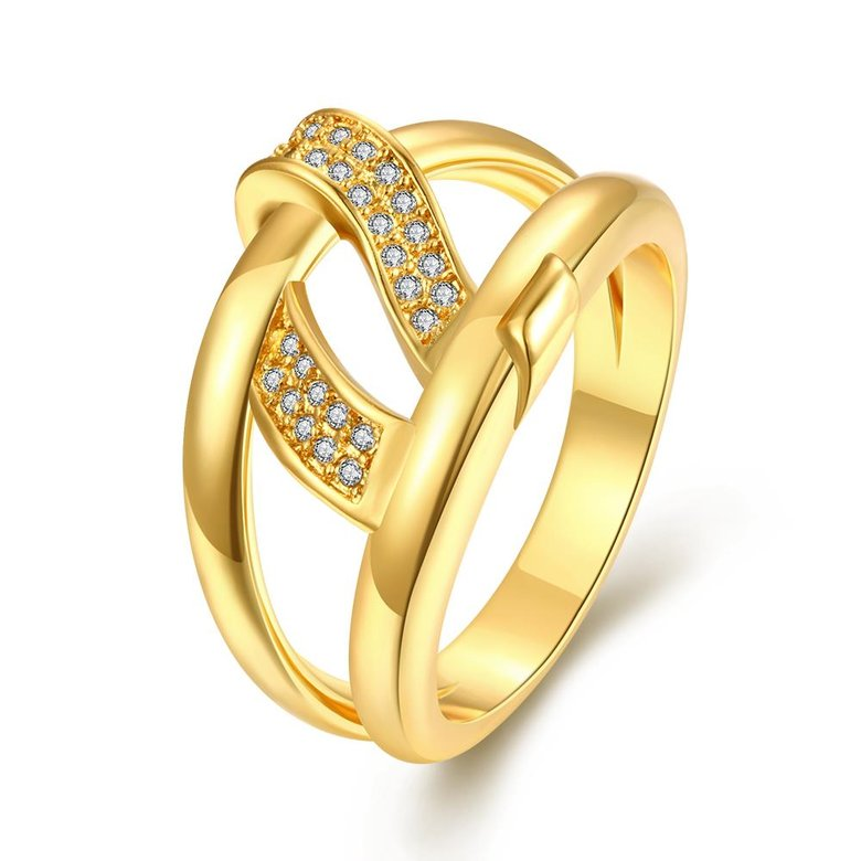 Wholesale Bohemia 24K Gold Geometric White CZ Ring TGGPR401