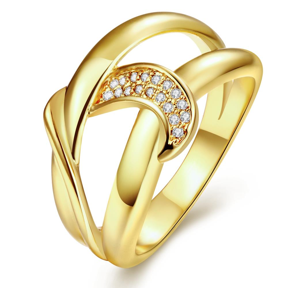 Wholesale Classic 24K Gold Geometric White CZ Ring TGGPR412