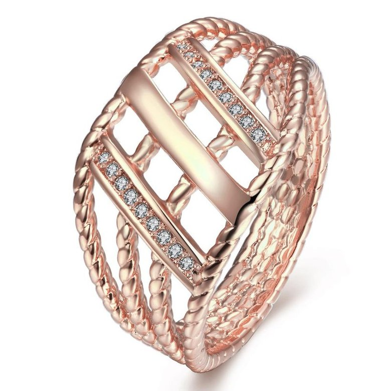 Wholesale Classic Rose Gold Geometric White CZ Ring TGGPR430