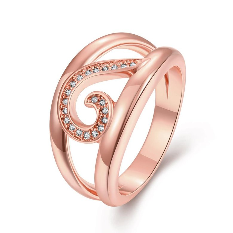 Wholesale Trendy Rose Gold Geometric White CZ Ring TGGPR454