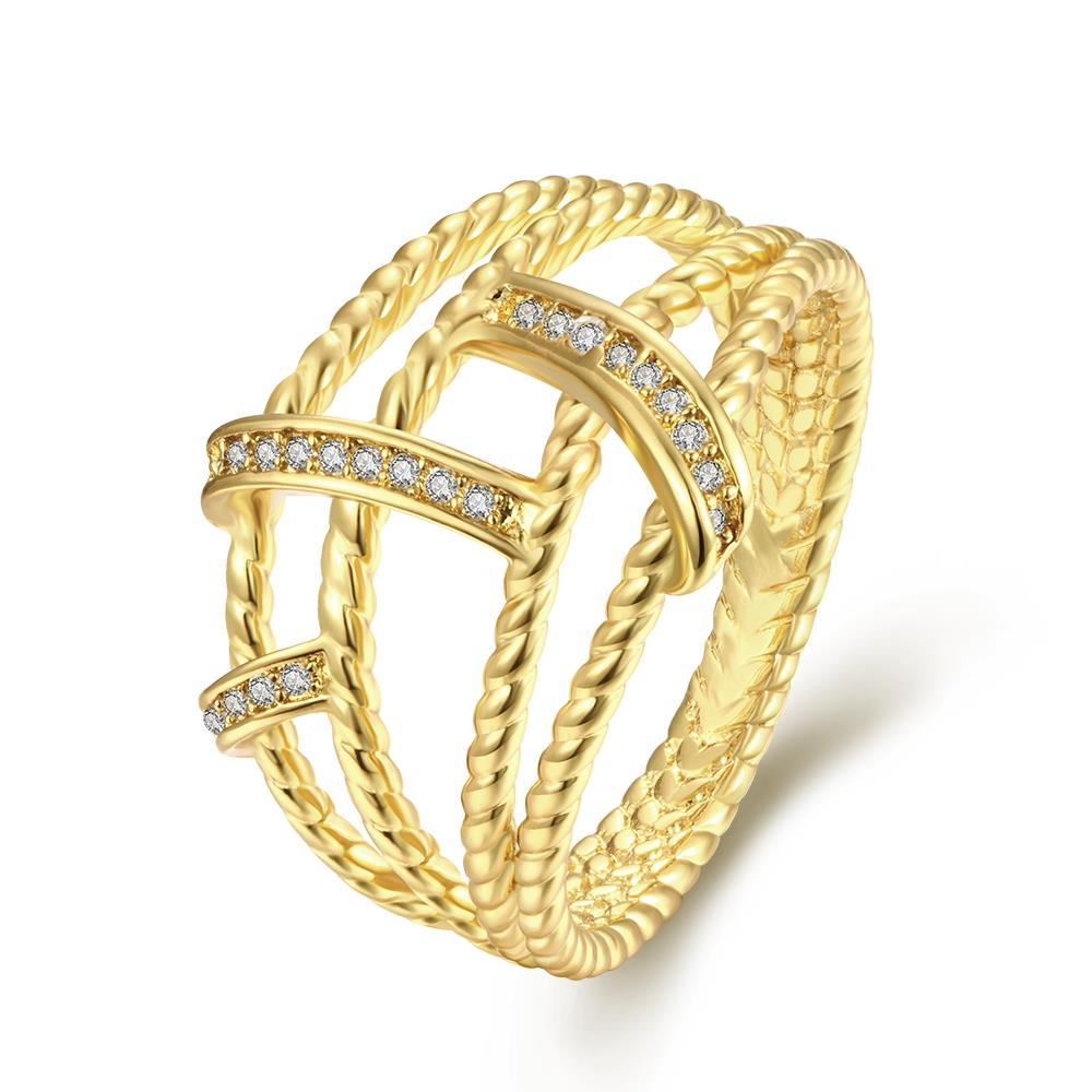 Wholesale Classic 24K Gold Geometric White CZ Ring TGGPR489