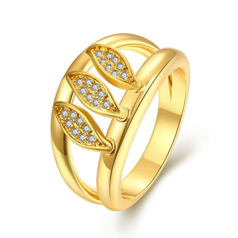 Wholesale Romantic 24K Gold Geometric White CZ Ring TGGPR596
