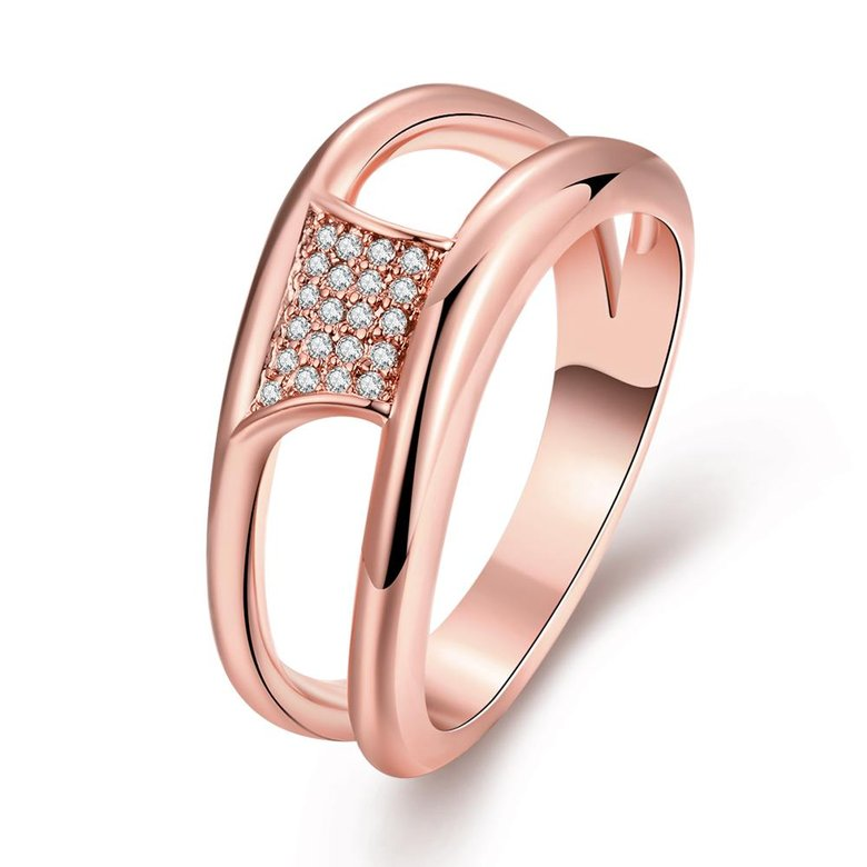 Wholesale Classic Rose Gold Geometric White CZ Ring TGGPR612