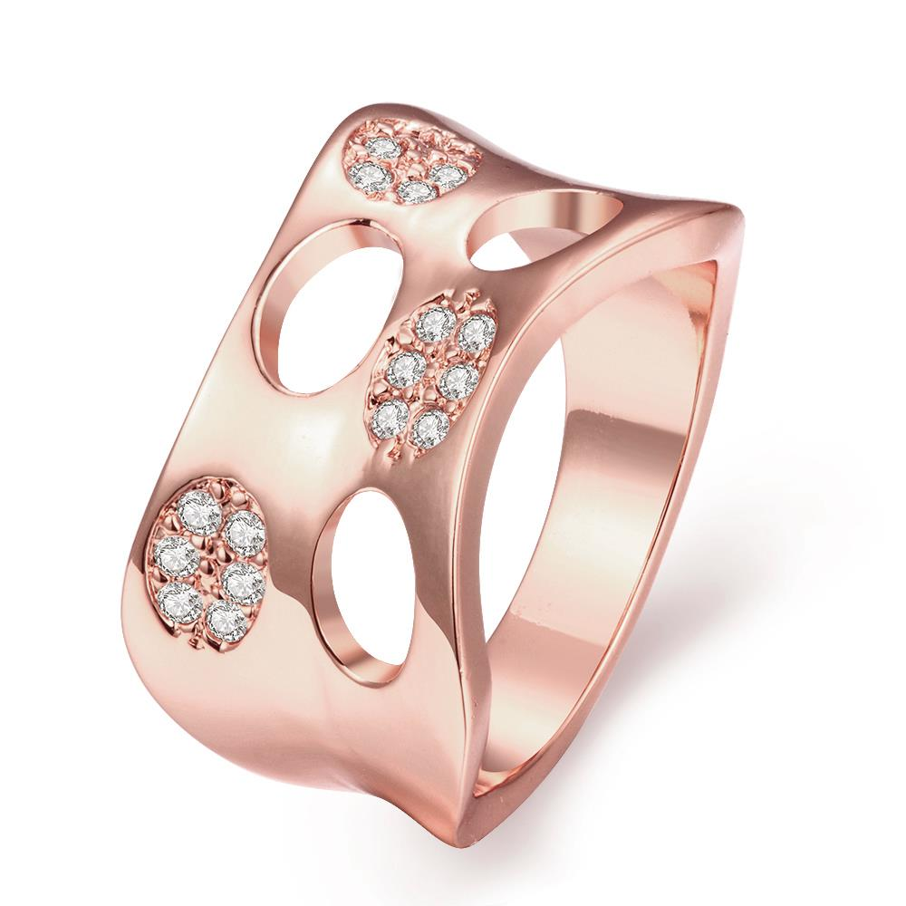 Wholesale Classic Rose Gold Round White CZ Ring TGGPR621
