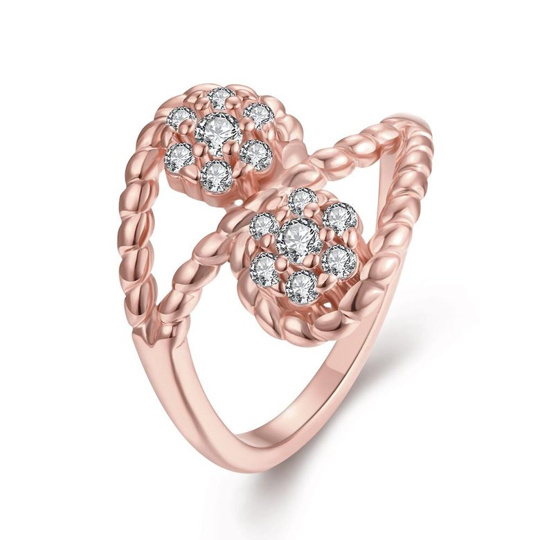 Wholesale Romantic Rose Gold Plant White CZ Ring TGGPR665