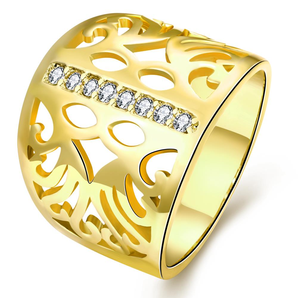 Wholesale Classic 24K Gold Geometric CZ Ring TGGPR1188