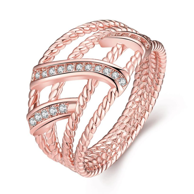 Wholesale Classic Rose Gold Geometric White CZ Ring TGGPR1334