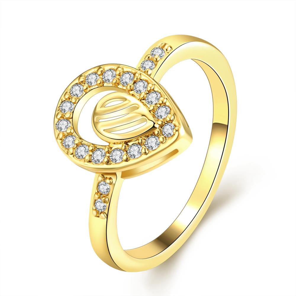 Wholesale Trendy 24K Gold Water Drop White CZ Ring TGGPR1361