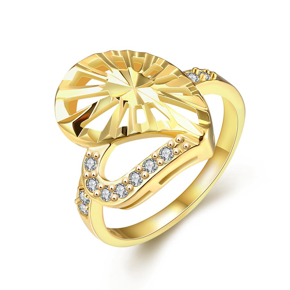 Wholesale Trendy 24K Gold Heart White CZ Ring TGGPR1381