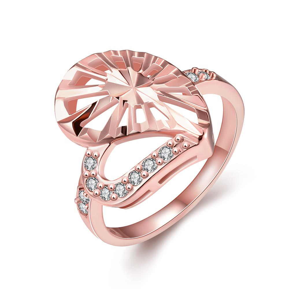 Wholesale Trendy Rose Gold Heart White CZ Ring TGGPR1385