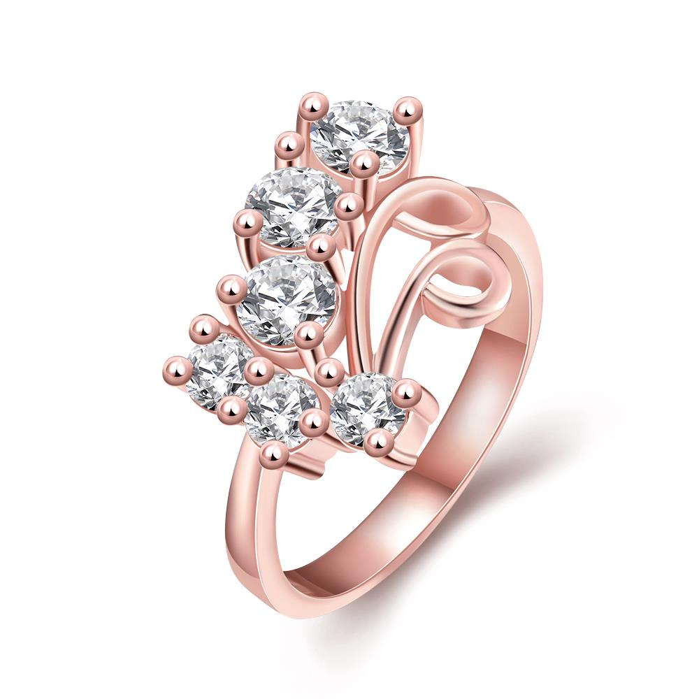Wholesale Classic Rose Gold Geometric White CZ Ring TGGPR1407