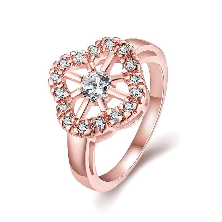 Wholesale Romantic Rose Gold Plant White CZ Ring TGGPR1438