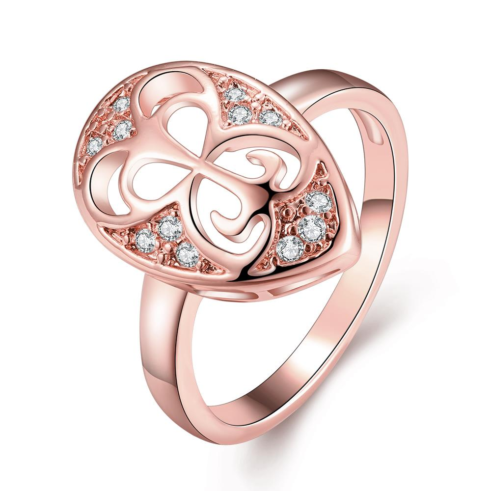 Wholesale Classic Rose Gold Water Drop White CZ Ring TGGPR1454