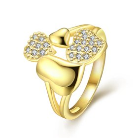 Wholesale Trendy 24K Gold Heart White CZ Ring TGGPR224