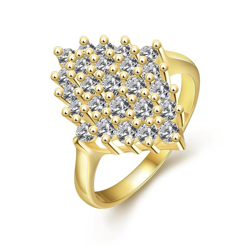 Wholesale Classic 24K Gold Geometric White CZ Ring TGGPR245