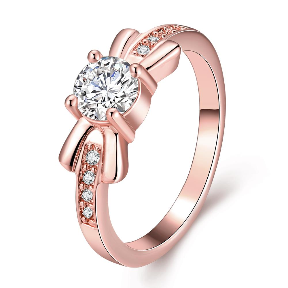 Wholesale Trendy Rose Gold Geometric White CZ Ring TGGPR259