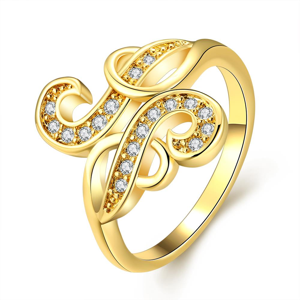 Wholesale Trendy 24K Gold Geometric White CZ Ring TGGPR265