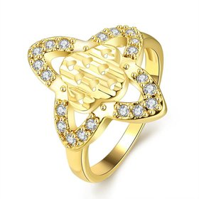 Wholesale Classic 24K Gold Heart White CZ Ring TGGPR279