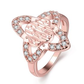 Wholesale Classic Rose Gold Heart White CZ Ring TGGPR286