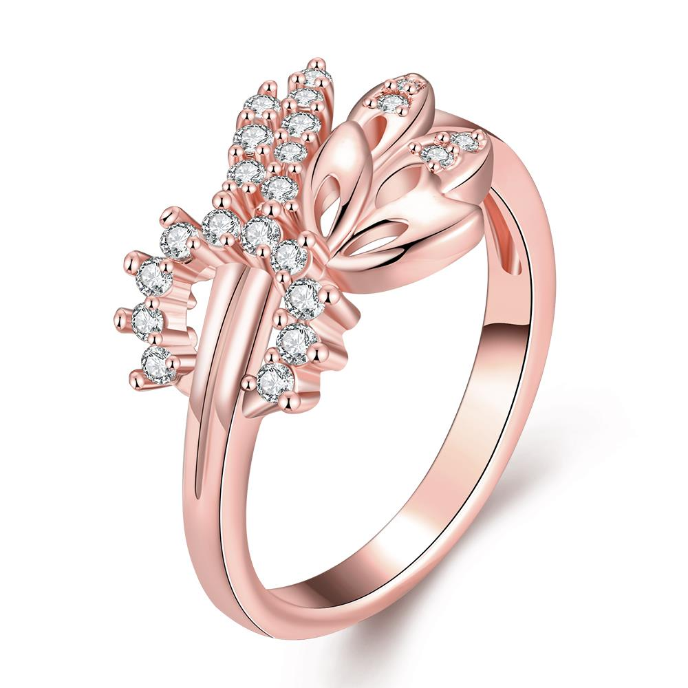 Wholesale Romantic Rose Gold Plant White CZ Ring TGGPR299