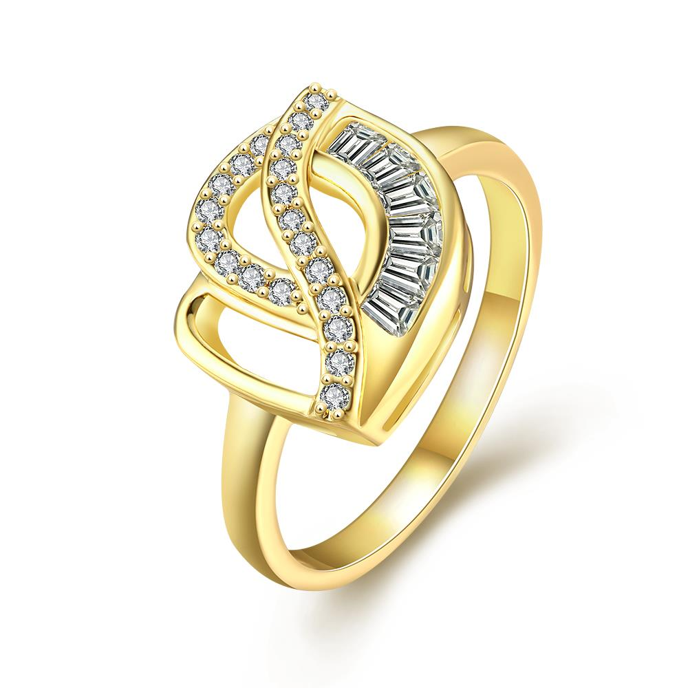 Wholesale Classic 24K Gold Geometric White CZ Ring TGGPR306