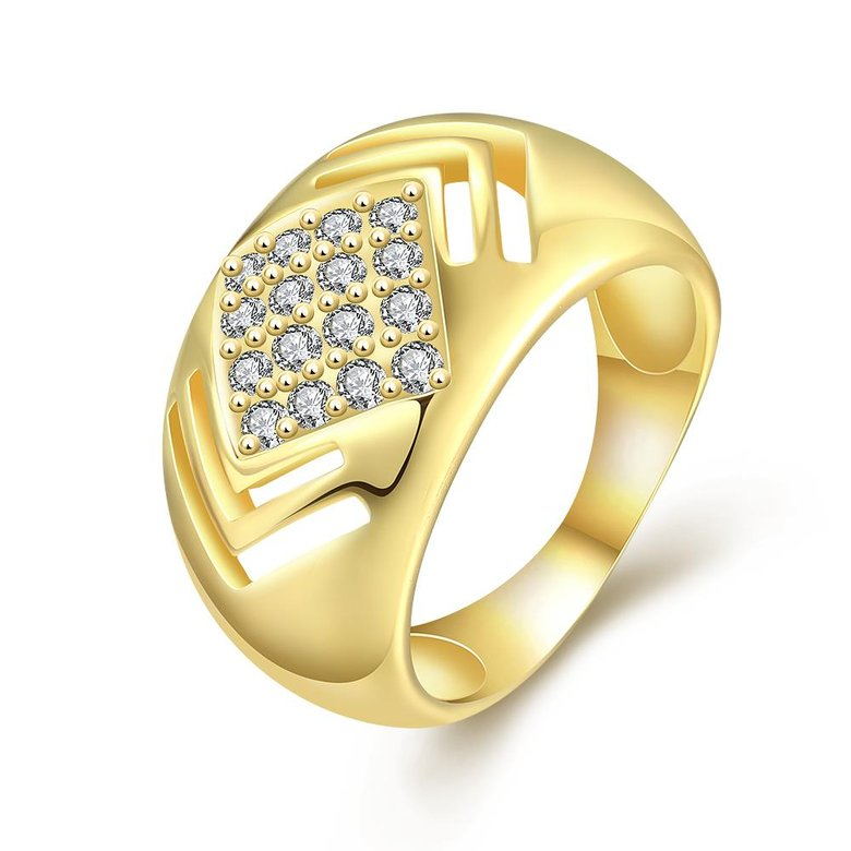 Wholesale Classic 24K Gold Geometric White CZ Ring TGGPR336