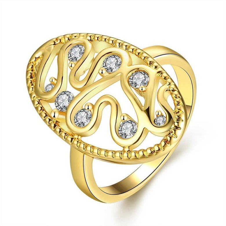 Wholesale Romantic 24K Gold Water Drop White CZ Ring TGGPR378