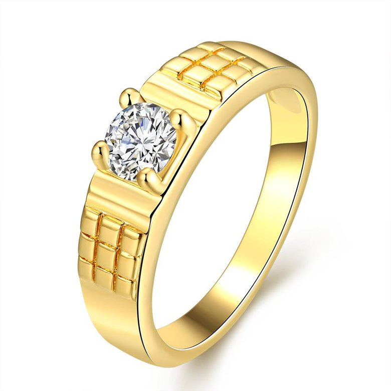 Wholesale Romantic 24K Gold Geometric White CZ Ring TGGPR391