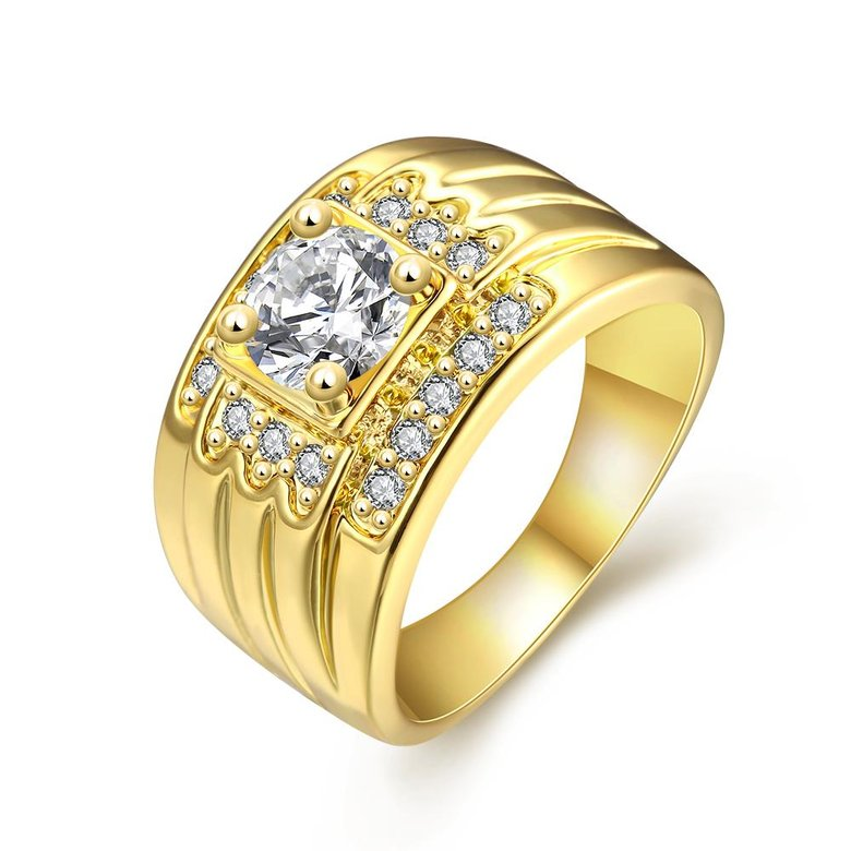 Wholesale Classic 24K Gold Geometric White CZ Ring TGGPR402