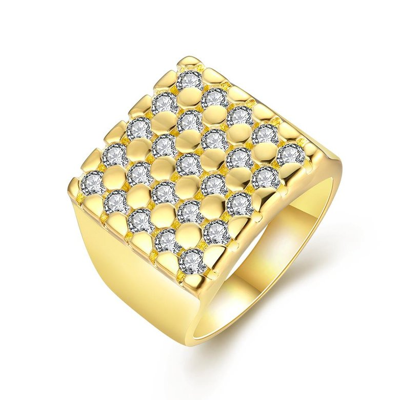 Wholesale Classic 24K Gold Geometric White CZ Ring TGGPR413