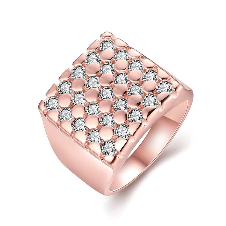 Wholesale Classic Rose Gold Geometric White CZ Ring TGGPR419