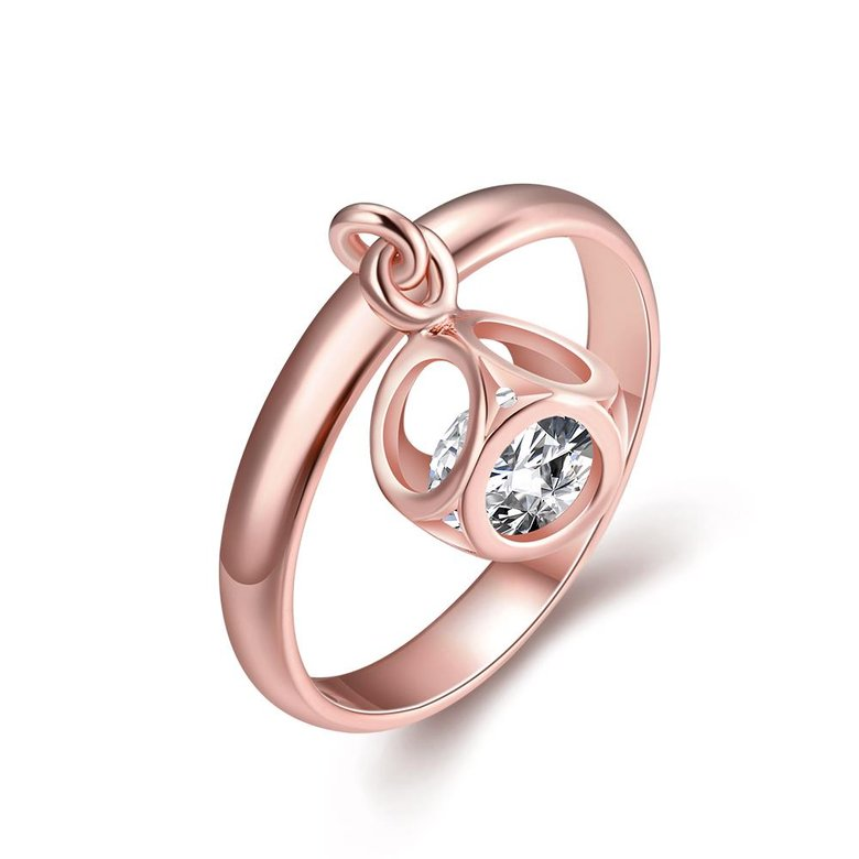 Wholesale Trendy Rose Gold Geometric White CZ Ring TGGPR455