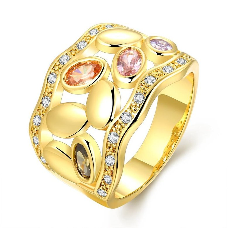 Wholesale Romantic 24K Gold Geometric Multicolor CZ Ring TGGPR490