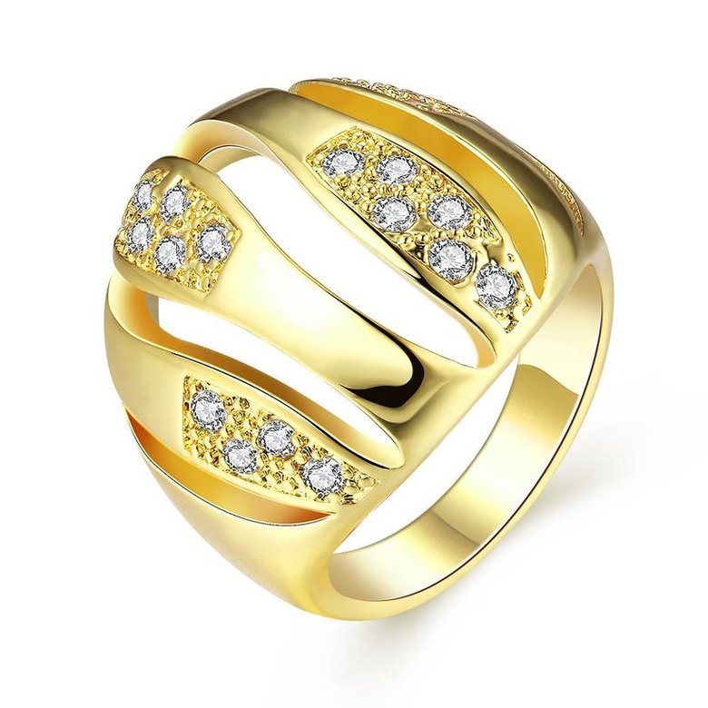 Wholesale Trendy 24K Gold Geometric White CZ Ring TGGPR496
