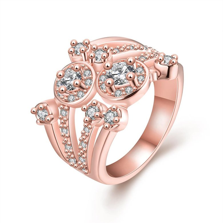Wholesale Classic Rose Gold Round White CZ Ring TGGPR517