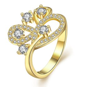 Wholesale Romantic 24K Gold Geometric White CZ Ring TGGPR011